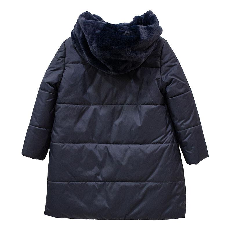 Μπουφάν φουσκωτό μπλε με κουκούλα γούνα  με φερμουάρ και τσέπες κορίτσι petit