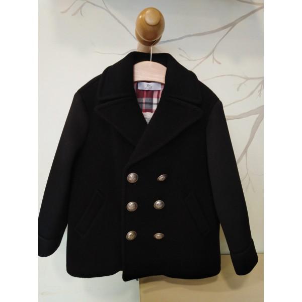 Παλτό αγοριού μαύρο - γκρι του οίκου Petit