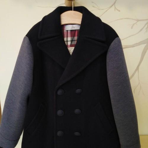 Παλτό αγοριού μπλε - γκρι Petit
