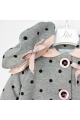 Παλτό κοριτσιού γκρι - ροζ πουά Petit