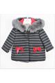 Παλτό κοριτσιού ριγέ γκρι - κόκκινο Petit