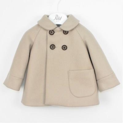 Παλτό μπεζ κασμίρ με τσέπη πολύ υψηλής ραπτικής petit