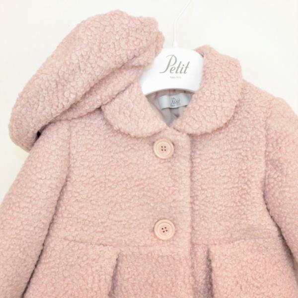 Παλτό ροζ σομον μπουκλε με μπερέ κορίτσι petit