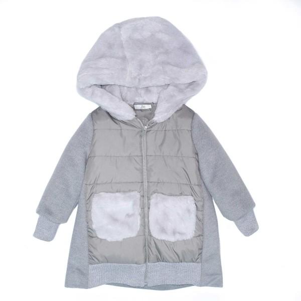 Μπουφάν παλτό γρι με κουκούλα γούνα γρι με τσέπες φερμουάρ κορίτσι petit