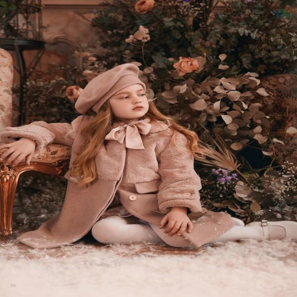 Παλτό γούνα σάπιο μήλο με μπερέ και γιακά κορίτσι petit