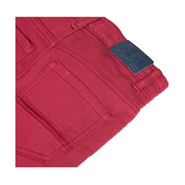 Παντελόνι βαμβακερό μπορντό κόκκινο με τσέπες και φερμουάρ αγόρι 3pommes