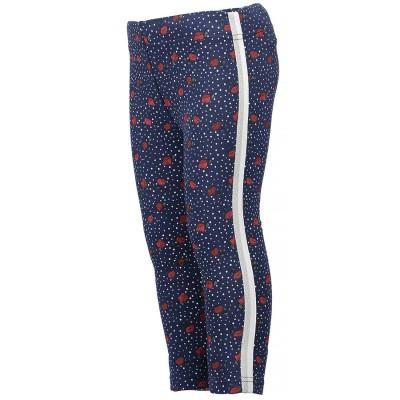 Παντελόνι κολάν φλοραλ μπλε κόκκινο με ριγα ασημή μακρύ κορίτσι blue seven