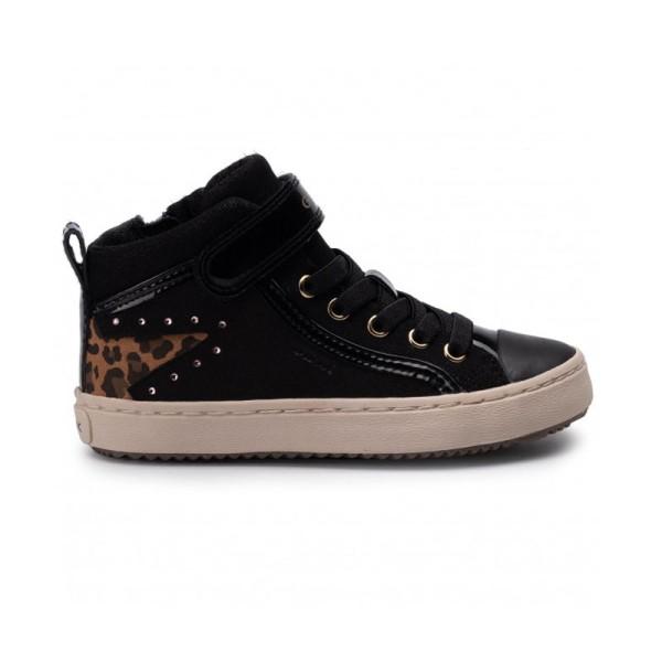 Παπούτσι κοριτσιού μαύρα sneakers λεοπάρ σχέδιο αστέρι - GEOX - J KALISPERA GIRL