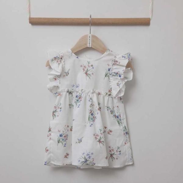 Φόρεμα  λευκο με λουλούδια κοριτσιού Two in a Castle