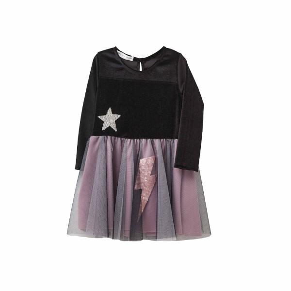 Φόρεμα βελουτέ με τουτου για κορίτσι μαύρο - Two in a Castle