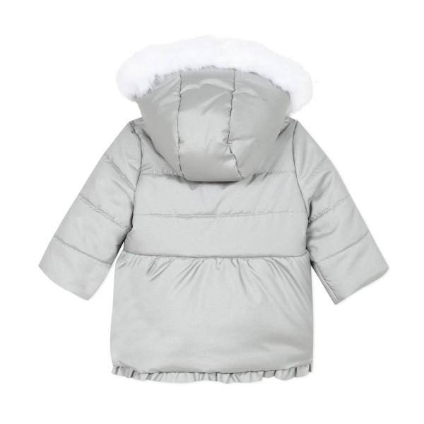 Μπουφάν κοριτσιού Parka σε γκρι χρώμα με φερμουάρ και γούνινη κουκούλα και γούνα εσωτερικά  της εταιρίας 3pommes