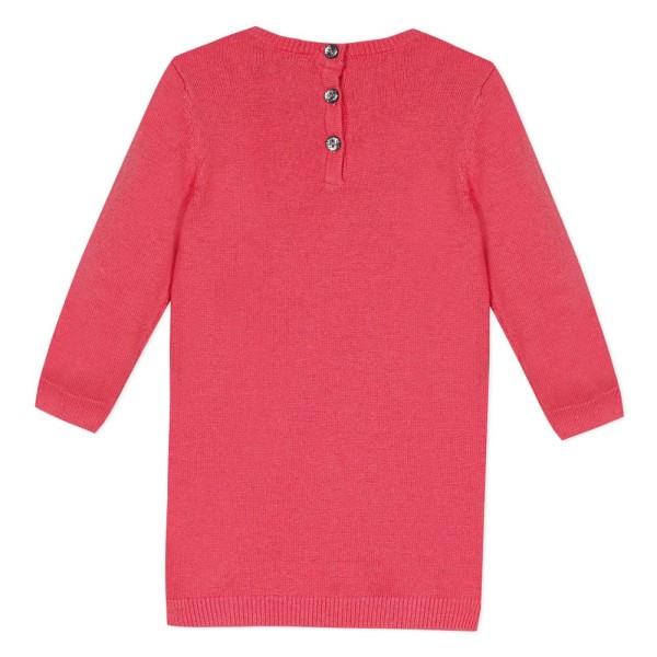 Μπλουζοφόρεμα πλεκτό ροζ κοριτσιού με σχέδιο ελαφάκι στο κέντρο της εταιρίας 3pommes