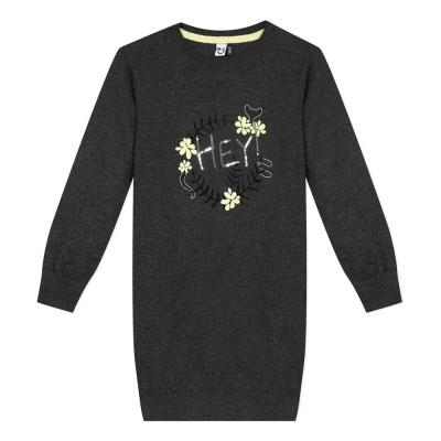 """Μπλουζοφόρεμα πλεκτό γκρι κοριτσιού με σχέδιο """"Ηey"""" στο κέντρο της εταιρίας  3pommes"""