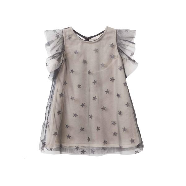 Φόρεμα κοριτσιού σε μπεζ χρώμα με διαφάνεια μαύρη με αστεράκια και φρου-φρού στα μανίκια λεπτομέρειες απο βιολογικό βαμβάκι  - Two in a Castle