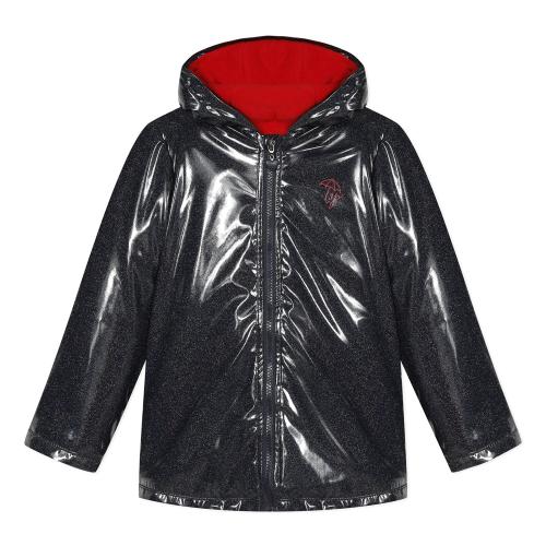 Μπουφάν κοριτσιού με κουκούλα αδιάβροχο σε μαύρο γυαλιστερό χρώμα με λάμψεις χρυσόσκονης, φερμουάρ που κλείνει της εταιρίας 3pommes