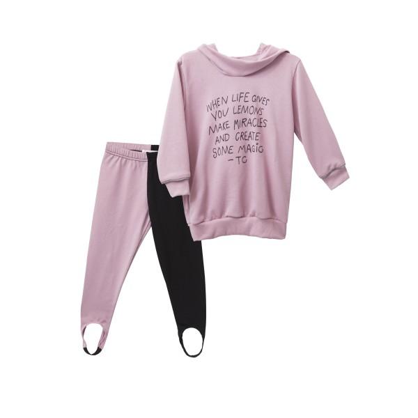 Σετ κοριτσιού μπλουζάκι σε ροζ χρώμα και κολάν δίχρωμο (ροζ-μαύρο) απο βιολογικό βαμβακι - Two in a Castle