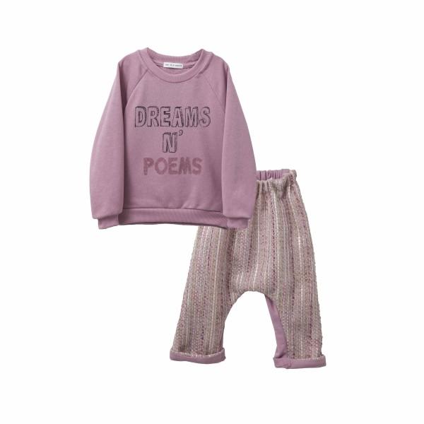 Σετ κοριτσιού φουτερ μπλουζάκι σε ροζ πολύ ιδιαίτερο χρώμα και παντελόνι με ρίγες από βιολογικό βαμβάκι - Two in a Castle