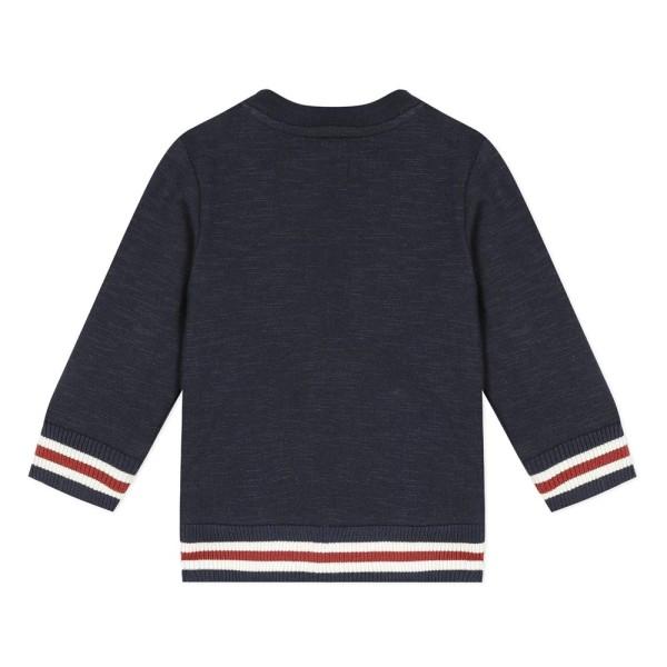 Μπλουζάκι αγοριού με μακρύ μανίκι σε μπλε χρώμα με λεπτομέρειες στα μανίκια της εταιρίας 3Pommes