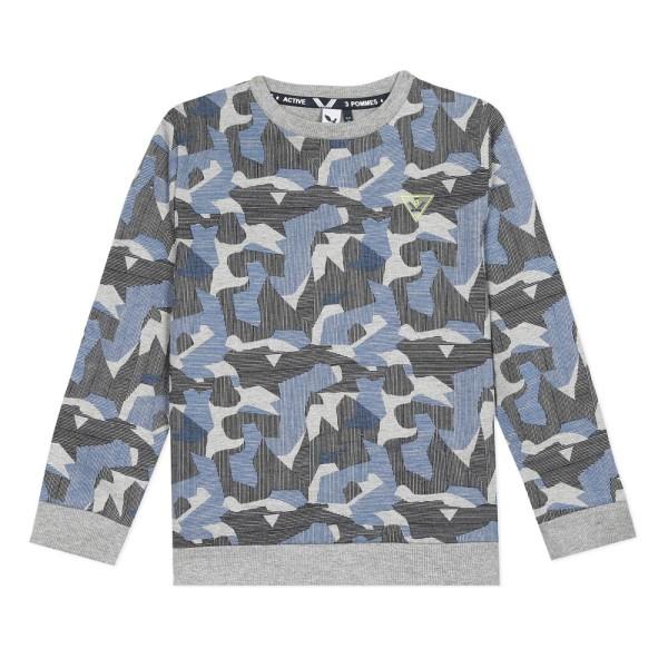 Μπλούζα αγοριού βαμβακερή με σχέδια γκρι με μπλε χρώμα της εταιρίας 3Pommes