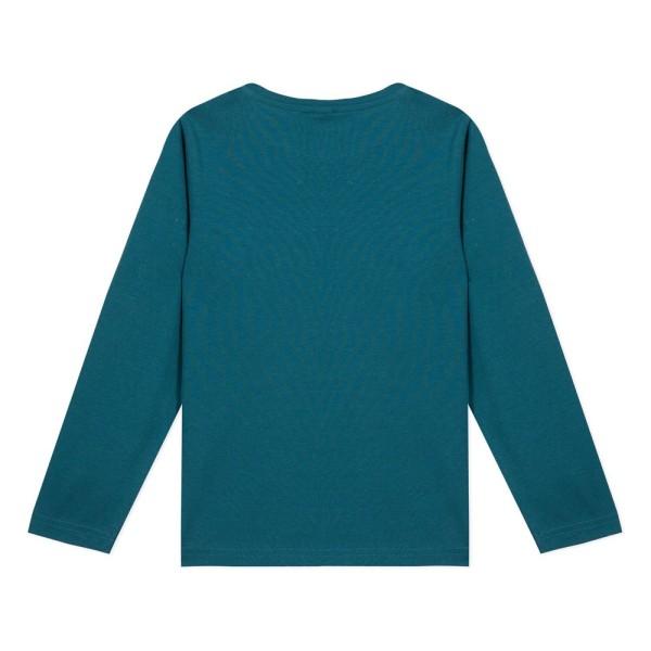Μπλουζάκι αγοριού με μακρύ μανίκι σε πετρολ χρώμα με σχέδιο απο παγιέτα λιοντάρι της εταιρίας 3Pommes