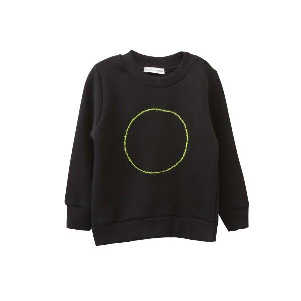 Μπλούζα αγοριού σε μαύρο χρώμα από βιολογικό βαμβάκι με σχέδιο κύκλο - Two in a Castle