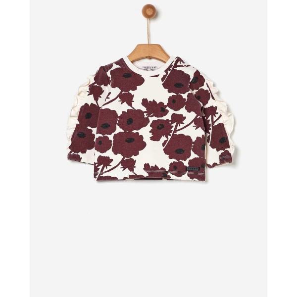 Μπλούζα κοριτσιού με λουλούδια /BURGUNDY FLOWERS ALLOVER της εταιρίας YELL-OH!  41170135033