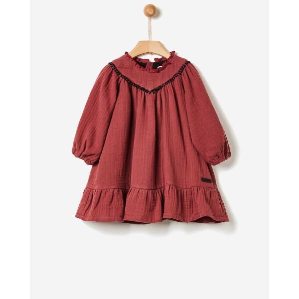 Φόρεμα κοριτσιού γάζα BURGUNDY της εταιρίας YELL-OH! 41170140023