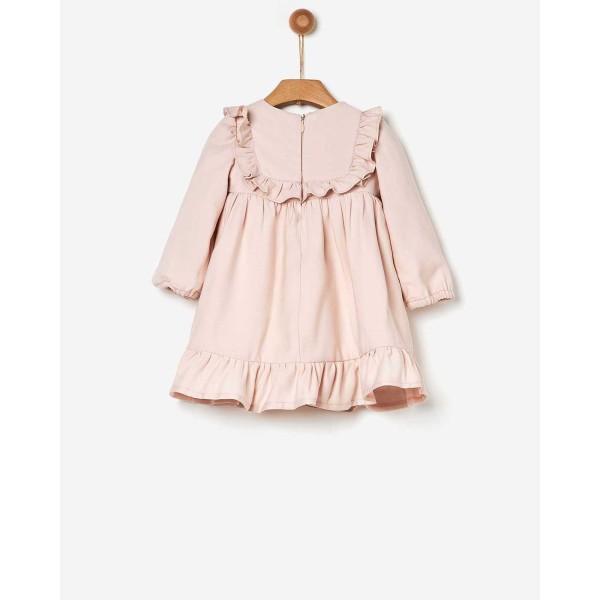Φόρεμα κοριτσιού με  βολάν σε ροζ απαλό χρώμα της εταιρίας YELL-OH! 41170140049