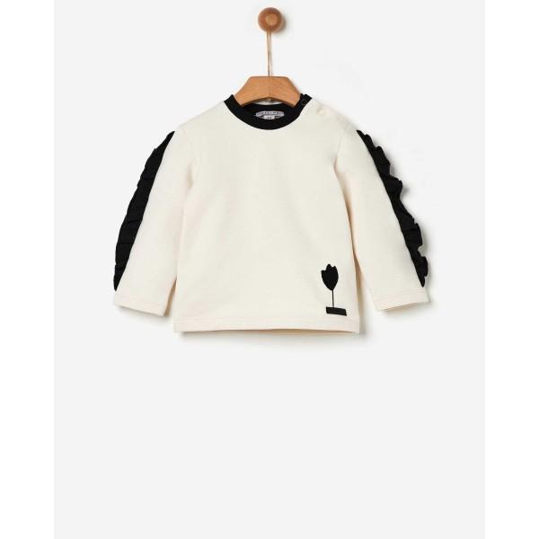 Μπλούζα κοριτσιού φούτερ με βολάν τουλίπα με κέντημα της εταιρίας YELL-OH! 41170235038