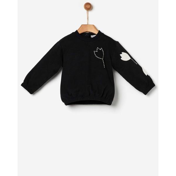 Μπλούζα κοριτσιού φούτερ μαυρο τουλίπα με κέντημα της εταιρίας YELL-OH!  41170235042