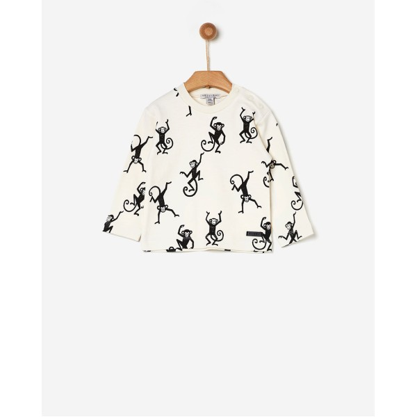 Μπλούζα αγοριού λευκή/μαϊμού σχέδιο της εταιρίας YELL-OH!   41171206008