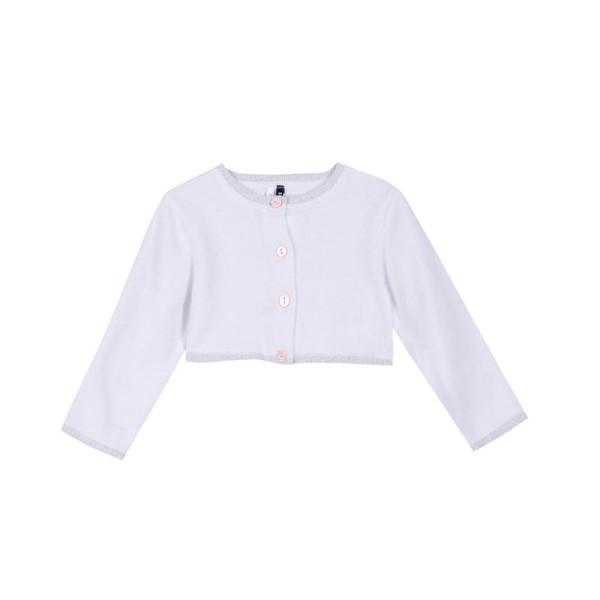 Ζακέτα κοριτσιού κοντή  με κουμπιά λευκή - ασημή  3Pommes