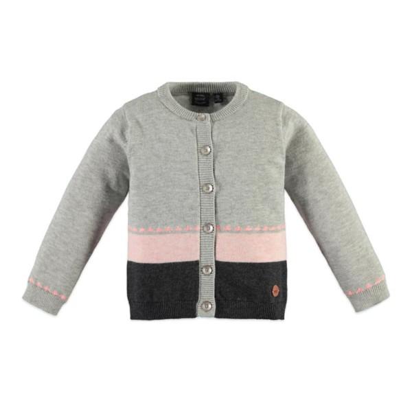 Ζακέτα με κουμπιά κοριτσιού γκρι - ροζ Babyface light grey melange